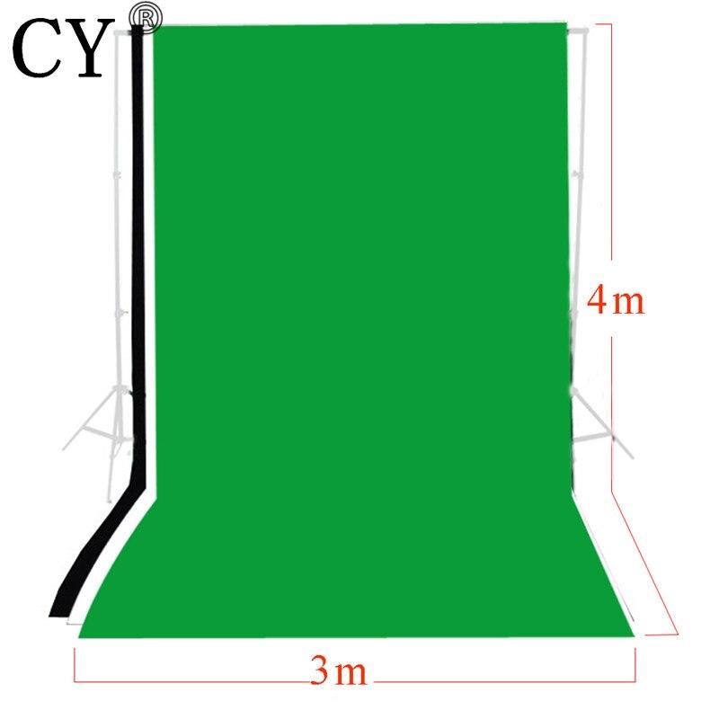 CY Fotografia Photo fond 3 m x 4 m solide noir blanc vert écran mousseline toile de fond ensemble photographie arrière-plan Kits