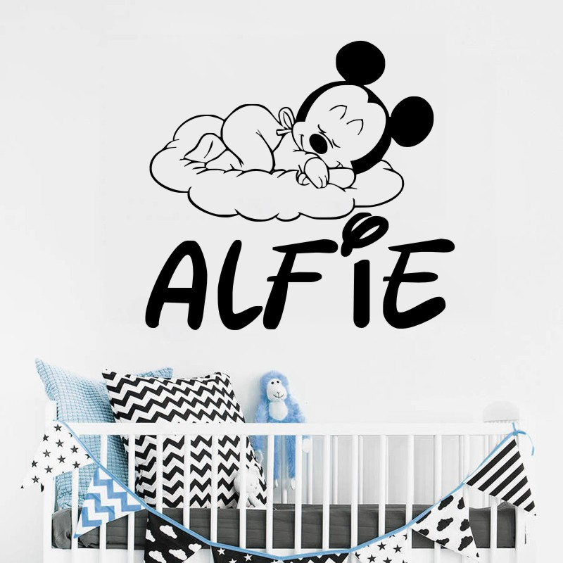 Loving Mickey Mouse Cute Little Pattern Wall DecalsSuctomed Name Nursery Bedroom Decorative Vinyl Wall Sticker Wallpaper W 544 in Wall Stickers from Home Garden