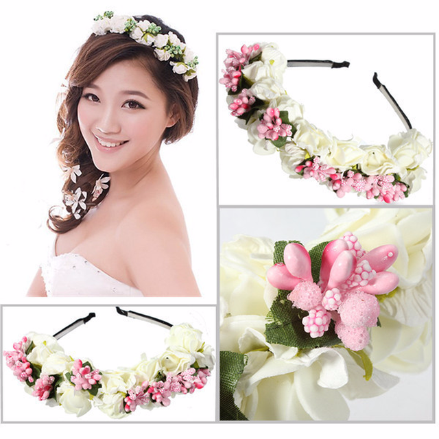 1 Beautiful and Cheap New Holiday Decoration Princess Wreath Headdress Garland Bride Headband Hibiscus 4 Colors