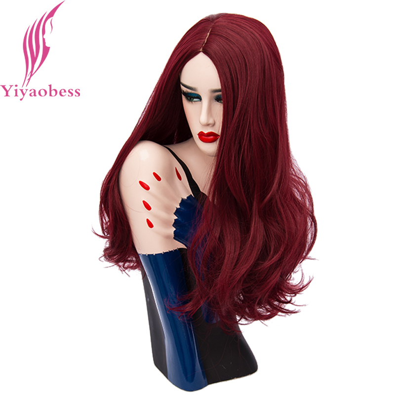 Yiyaobess 24inch Golden Orange Blue Pink Purple Green Natural Long Wavy Wig Cosplay Wigs For Women Synthetic Hair 19 Colors