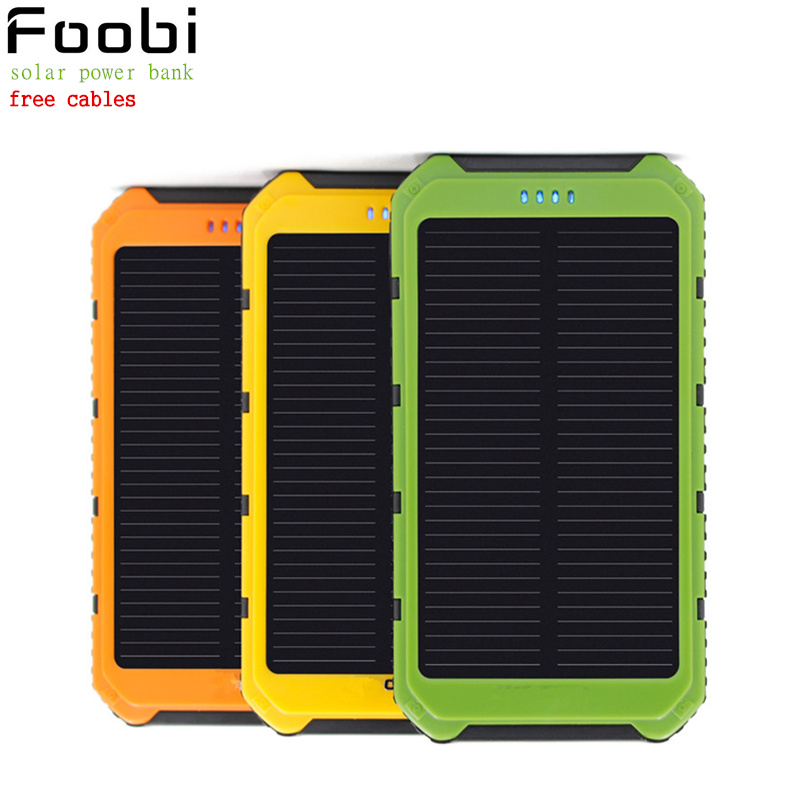 New 12000mAh Solar Charger Waterproof Solar Phone External Battery Dual USB Power Bank for Iphone 5/5s/6/6s With LED Light Lamp