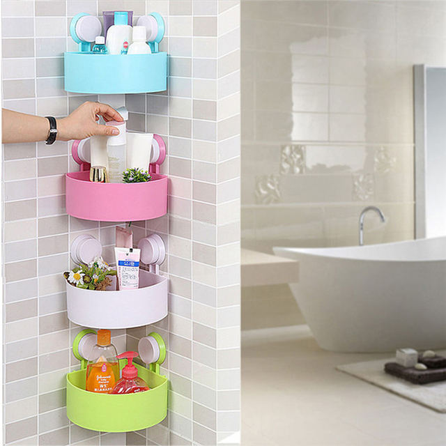 Wall Mounted Bathroom Corner Shelf Er Suction Cup Plastic Shower Basket Kitchen Rack Room