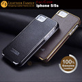 Para iphone 5s case de couro original icarer galvanoplastia case para iphone 5 5s se couro genuíno flip tampa do telefone móvel marrom