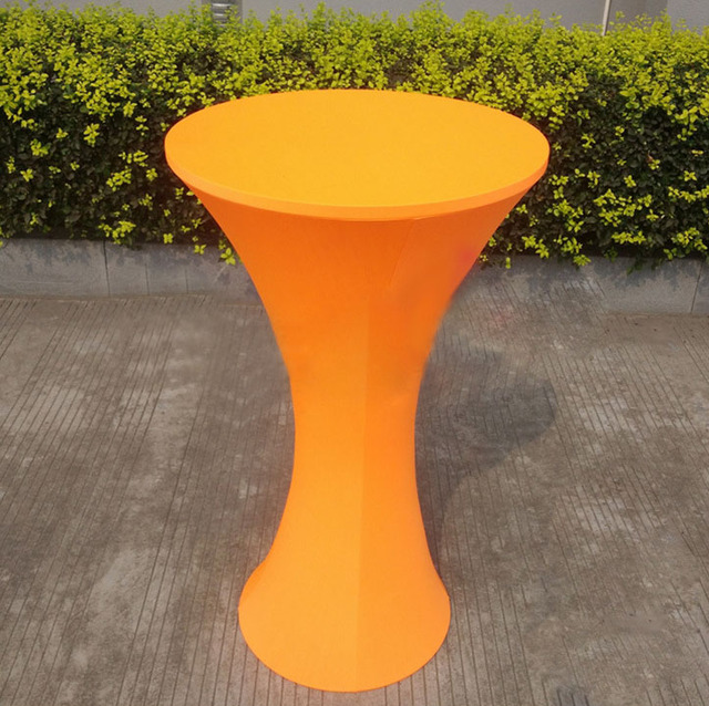Free Shipping 10pcs Orange Round Based Lycra Spandex Tail Table Cloths Elastic Stretch Bar Covers