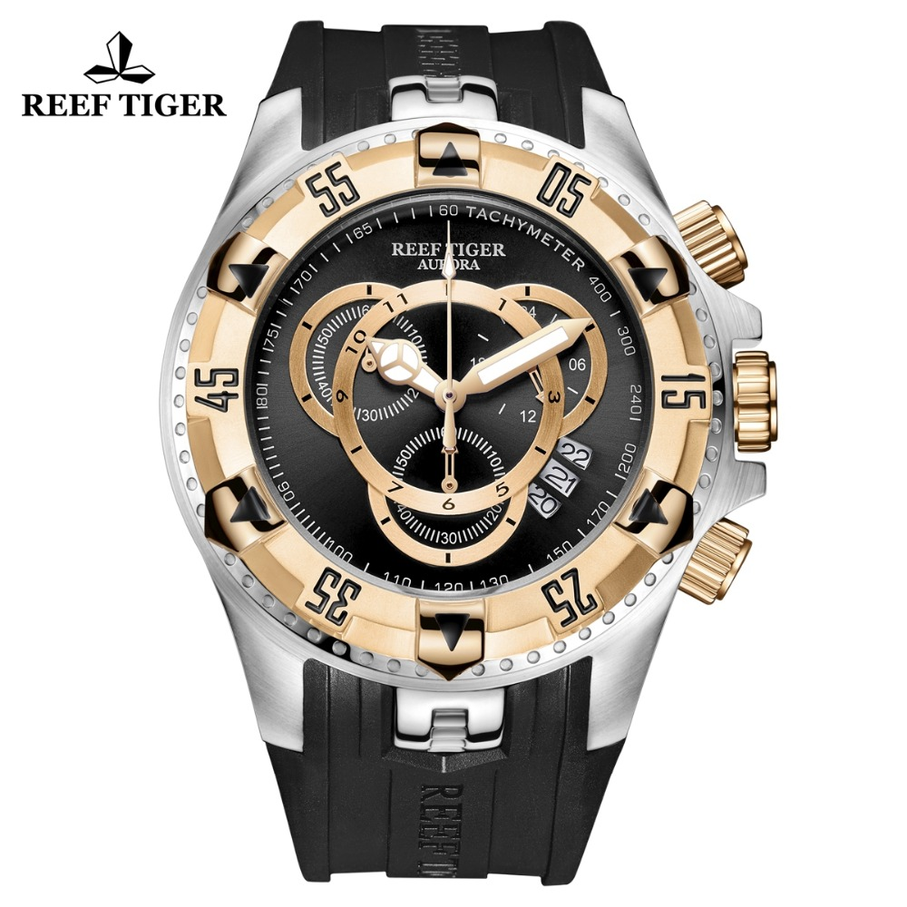 Reef Tiger/RT Top Brand Luxury Sport Watch for Men Yellow Gold Steel Waterproof Watches Chronograph Date Reloj Hombre RGA303-2 reef tiger rt designer sport watches for men rose gold quartz watch with chronograph and date reloj hombre 2018 rga3063