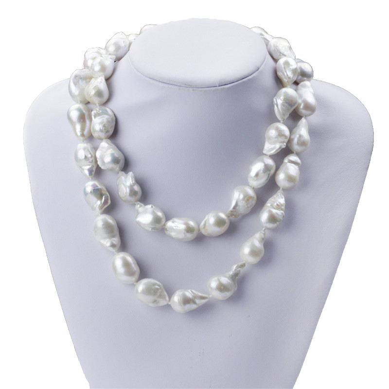 SNH 15mm  90cm long baroque shape A grade natural pearl necklace long necklaceSNH 15mm  90cm long baroque shape A grade natural pearl necklace long necklace