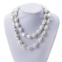 SNH 15mm 90cm long baroque shape A grade natural pearl necklace long necklace