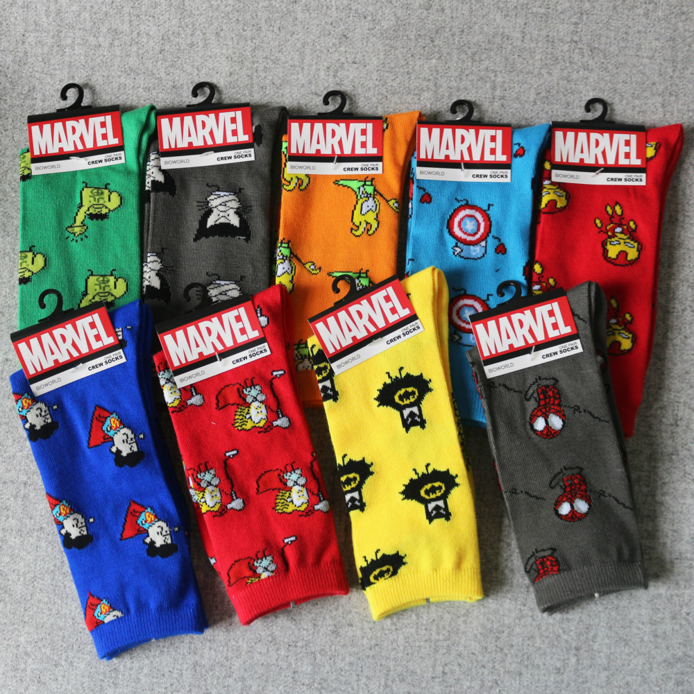Marvel Comics Hero General   Socks   Cartoon IronMan Captain America Knee-High Warm Stitching Pattern Antiskid Casual   Sock