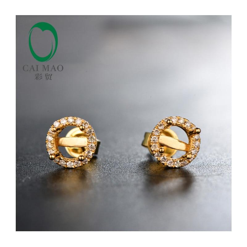5mm Round diamond 14Kt Yellow Gold Diamond Semi Mount Earrings Setting for anniversary free shipping
