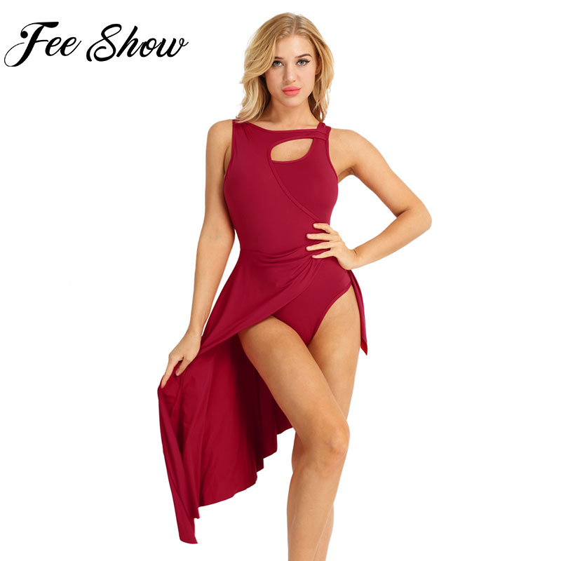 Women Adult Sleeveless High Low Leotard Dance Tutu Dress Ballerina Fairy Fancy Party Dancewear Women Performance Costumes