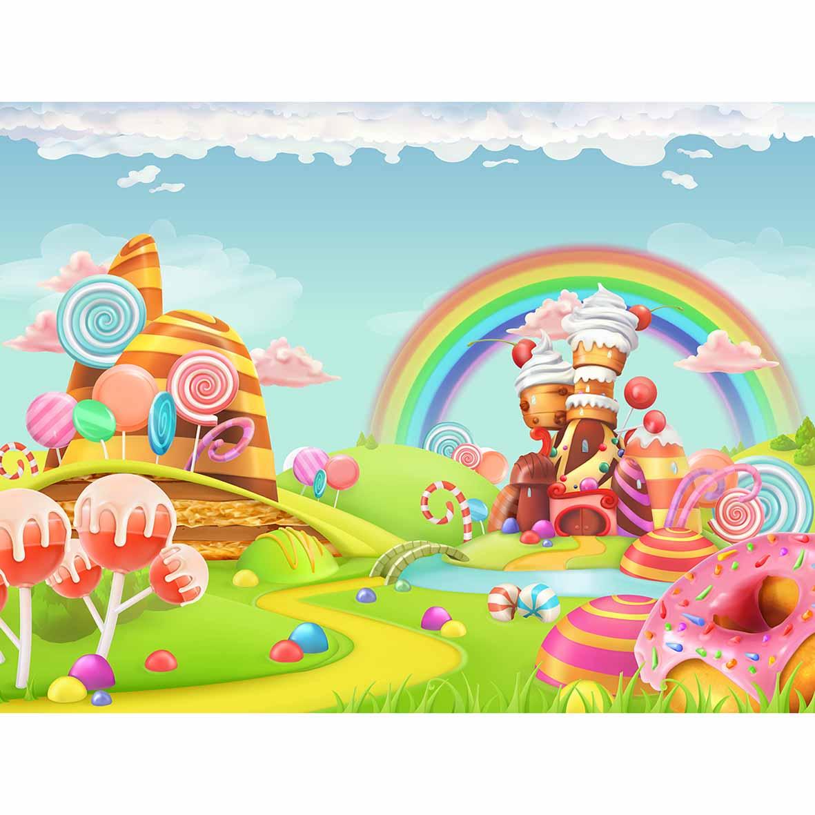 Allenjoy photographie toile de fond arc en ciel dessin animé bonbons maison enfant conte de fées arrière plan nouveau né conception originale pour studio