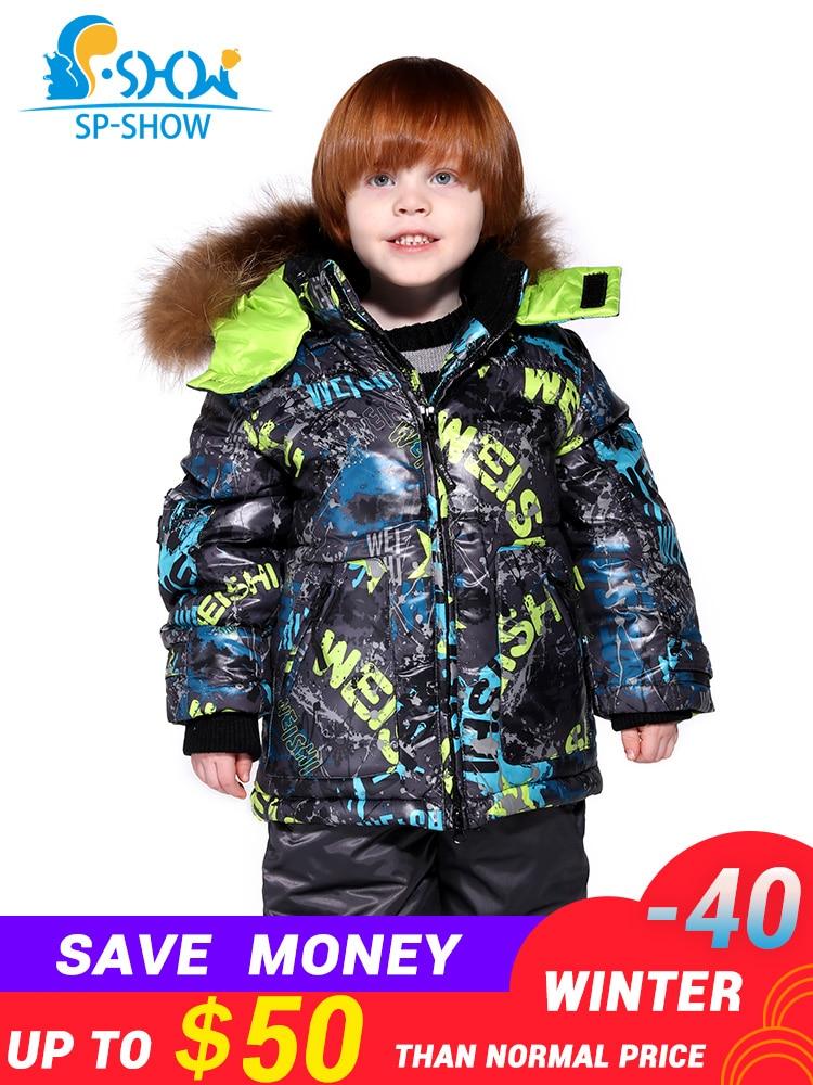 2019 Crianças Menino E Menina Marca Jaqueta à prova de Vento Jaqueta de Esqui De Pele de Luxo Para Baixo Casaco De Peles Grossas de Inverno Quente/Casaco + calças 004m