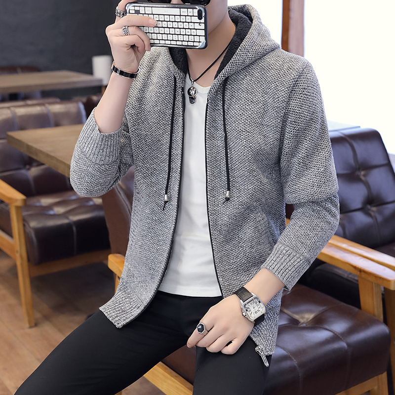 b Men 39 s Knitted Sweaters Hooded Cardigans Collar Winter Wool Fashion Male Sweaters Coat Plus Velvet Thick Men 39 s Clothing jacket