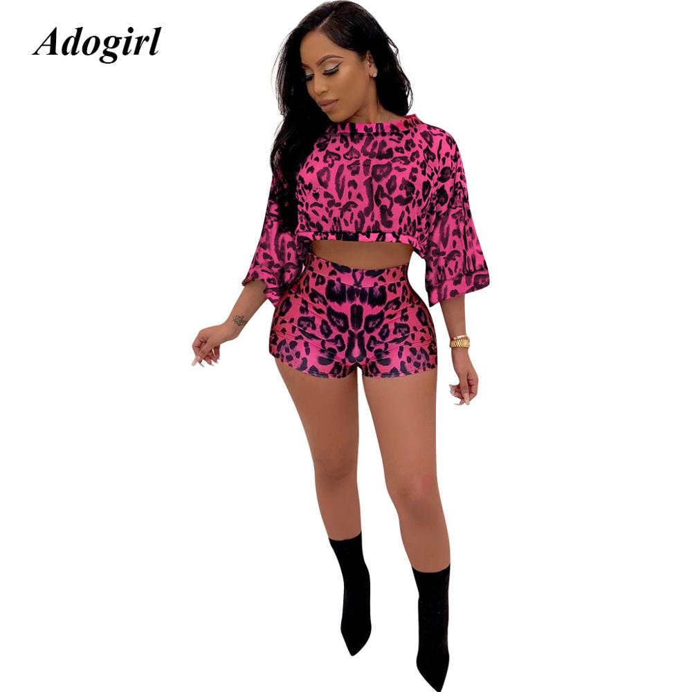 Adogirl Elegant Leopard Print Shorts Women Sets Casual O Neck Crop Top With Shorts Women Outfits Sexy Night Club Two Piece Set