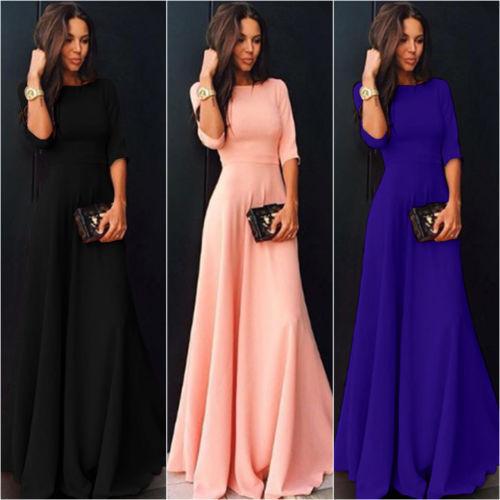 Womens Long Chiffon Long Sleeve Evening Formal Party Prom Ball Gown Maxi Dress Women Long Sleeve Dress Pink Black Blue