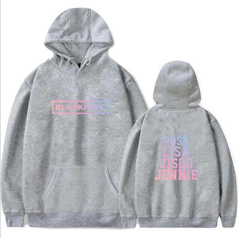 Korean KPOP Blackpink Album Harajuku Hoodies Sweatshirt Member Name Print JENNIE JISOO ROSE LISA Long Sleeve Hooded Jacket Women