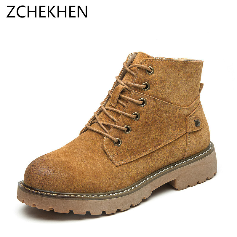 2018 Cow suede women martin boots winter warm botas feminina female Lace up motorcycle ankle fashion boots women botas mujer e toy word boots women fashion autumn martin boots warm women shoes ankle boots for women winter botas mujer wedges ankle boots