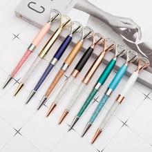 11Color/BOX Big carat diamond Crystal Pen Gem Ballpoint pen ring wedding office Metal ring roller ball pen Rose gold silver pink