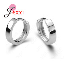 Promotion Classic Woman Earrings Simpe Loop Hoop Real Solid 925 Sterling Silver Lady Girl Jewelry Hot Sale Free Shipping
