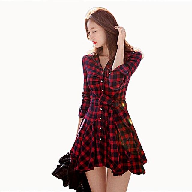 00b4273fd0 2015 Fall Winter Women Red Plaid Shirt Dresses With Long Sleeves Pleated  Waist Skater Dress
