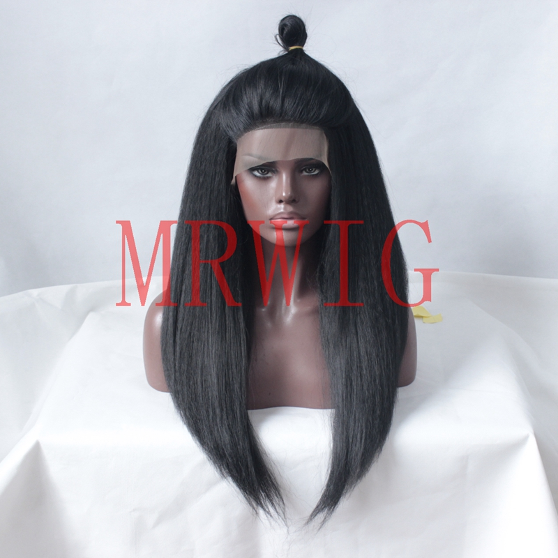 MRWIG Long Kinky Straight Artificial Wig For Black Women Glueless Front Lace Wig Free Part Brown/Blonde/Black Heat Resistant ...