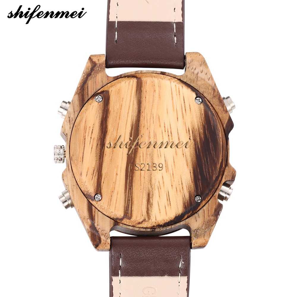 Designer Wood Watch Men Waterproof Alarm Mens Sports Watches Digtial Clock Male Real Leather Fashion Quartz Wristwatch XFCS gift in Quartz Watches from Watches