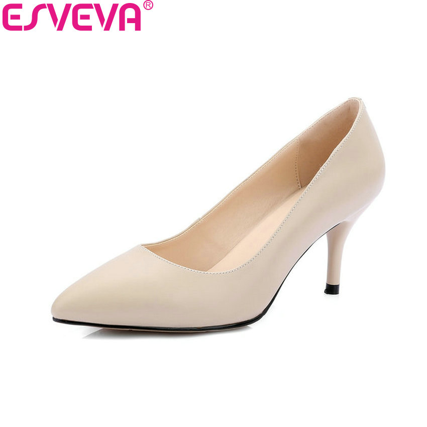ESVEVA 2018 Slim Look Women Pumps Shoes Cow Leather PU Pointed Toe Slip on Thin High Heels Ladies Shallow Pumps Shoes Size 34-42