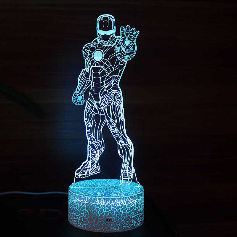 Lámpara de noche de LED Visual 3D de superhéroes de Marvel, lámpara de escritorio con enchufe Micro USB, decoración para el hogar, regalo de Navidad para niños, Lustrer de dibujos animados