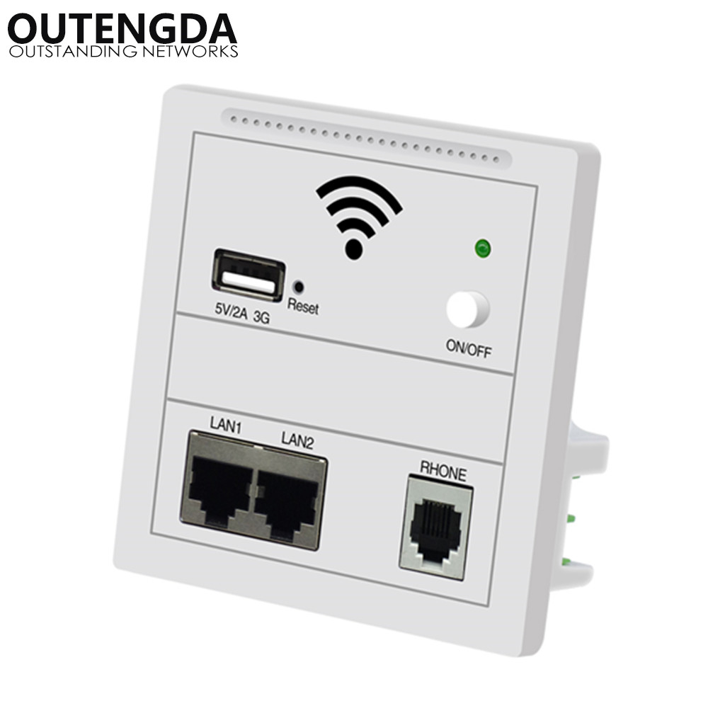 OUTENGDA 86 Panel in Wall 3G Trådløs AP Router PoE 220v WiFi Access Point in-wall AP trådløs wifi router / repeater Farge Hvit