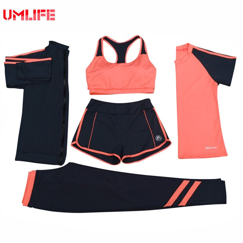 UMLIFE Women Yoga Set Gym Fitness Yoga Bra+Running T-shirt+Fitness Pants+Jacket+Sports Shorts Workout 5Pcs Outdoor Sports Suit 2018 new bright gym clothes colors solid and patchwork female summer yoga suit t shirt bra leggings 3 pieces yoga set for women