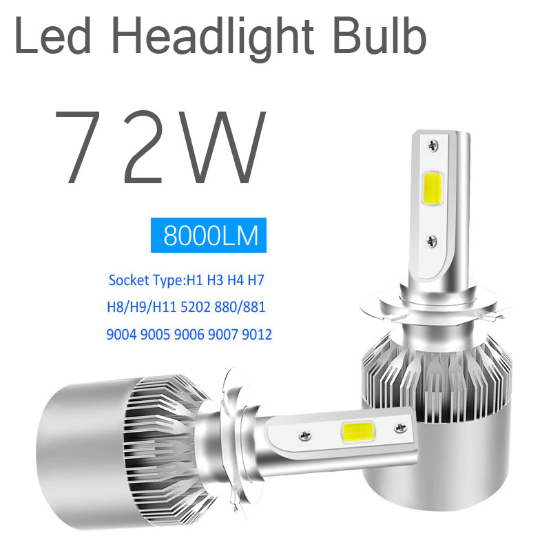 Luces Led Para Auto,H4 H7 H1 H13 9005 9006 Led Car Headlights Bulbs,Car Led H11 8000LM Cold White,C6 72W Car Styling Accessories
