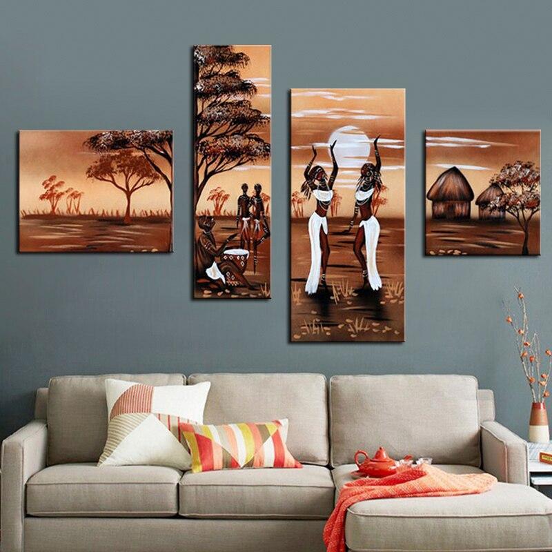 현대 추상 벽 아트 그림 춤 아프리카 여성 나무 풍경 유화 4 패널 아트웍 홈 거실 장식-에서그림 & 서예부터 홈 & 가든 의  그룹 1