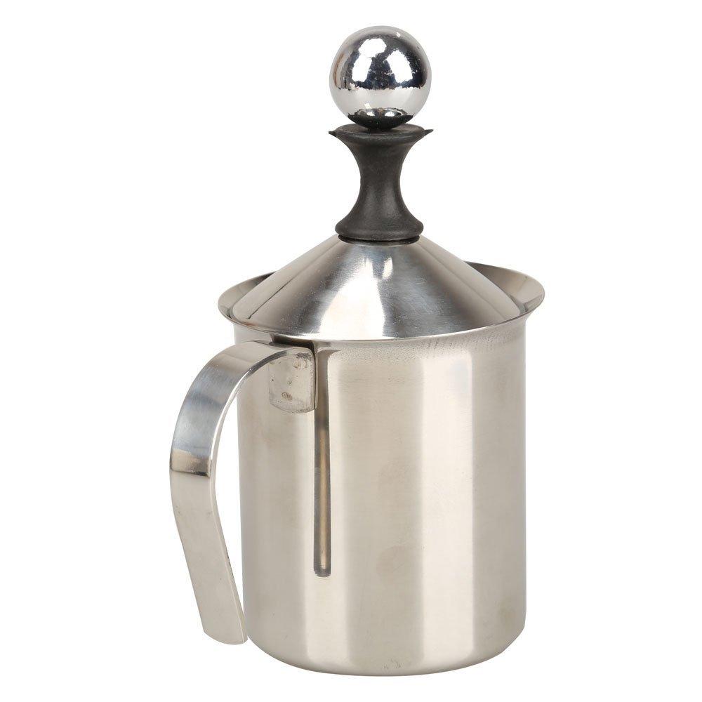 Двойной сетчатый вспениватель молока из нержавеющей стали, 400 мл, серебристый вспениватель молока (400 мл/13,5 унций)