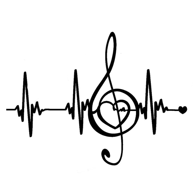 18CM133CM Creative Music Pulse Heartbeat Lines Vinyl Stickers Car Decal Silhouette S9