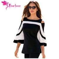 Dearlover المرأة بلوزة أسود أبيض colorblock بيل كم الباردة الكتف كبار موهير camisa الأنثوية مكتب السيدات ملابس LC250605