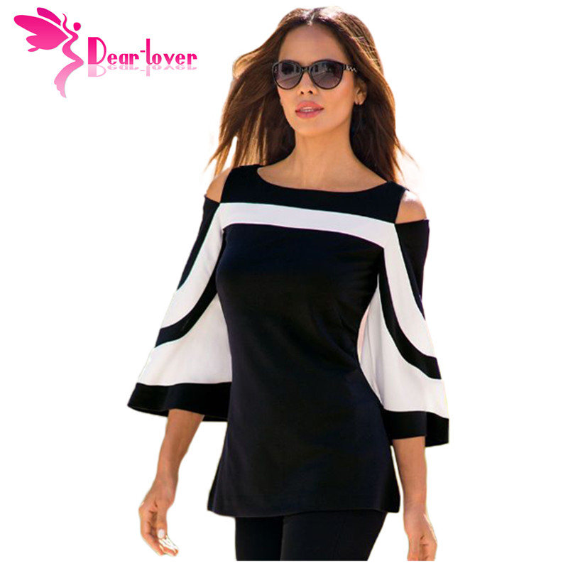 DearLover Women Blouse Black White Colorblock Bell Sleeve Cold Shoulder Top Mujer Camisa Feminina Office Ladies