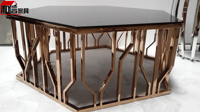 Hexagonal Stainless Steel Rose Gold Coffee Table Minimalist Modern Sofa Short Gl And Side
