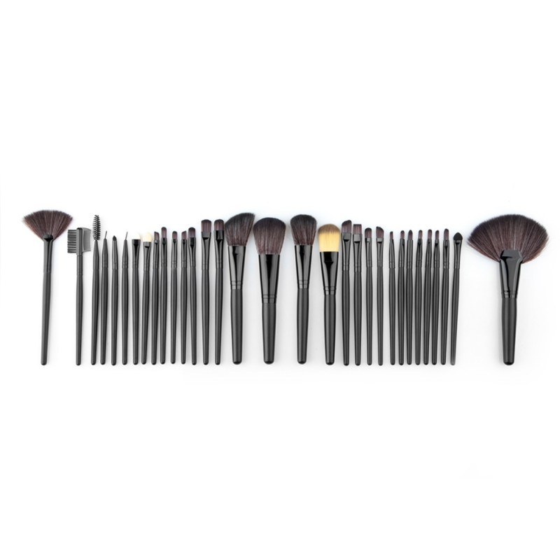 Professional 32 PCS Cosmetic Facial Make up Brush Kit Soft Wool Makeup Brushes Tools Set withGood Quality Black Leather Case free shipping durable 32pcs soft makeup brushes professional cosmetic make up brush set