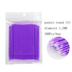 Image 2 - Cepillos de maquillaje desechables, 100 unidades/bolsa, Micro rímel, extensión de pestañas, herramientas individuales de eliminación de pestañas