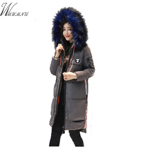 Wmwmnu 2017 Europäischen hohe qualität winter jaket frauen big fell kragen kapuzenjacke warm langen mantel parka mujer dicken winter mantel(China)