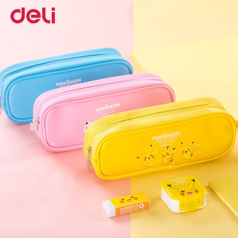Pokemon Canvas Pencil Case Candy Colors Student stationery box storage bag kawaii school supplies pencil box WJ-SMTG188