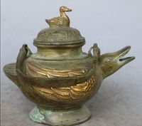6 Chinese Bronze Gilt Phoenix bird Magpies Duck Tea Wine Pot Statue AS1161