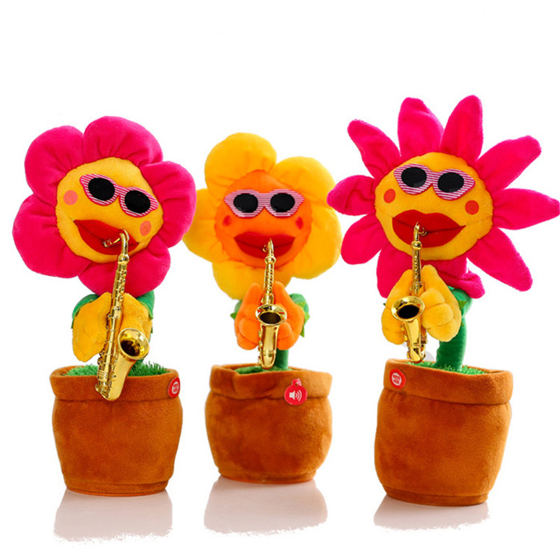 US $15 53 40% OFF|Singing&Dancing Flower 60Songs Enchanting Sunflower with  Saxophone Soft Stuffed Plush Toys Funny Electric Toys for Kids Gift-in