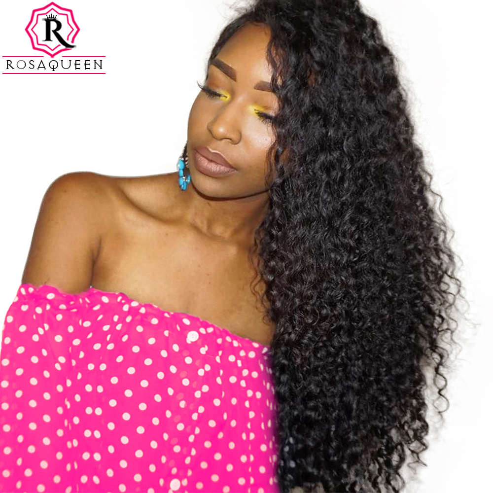 250% Density Lace Front Human Hair Wigs For Black Women Brazilian Curly Remy Hair Pre Plucked With Baby Hair Rosa Queen
