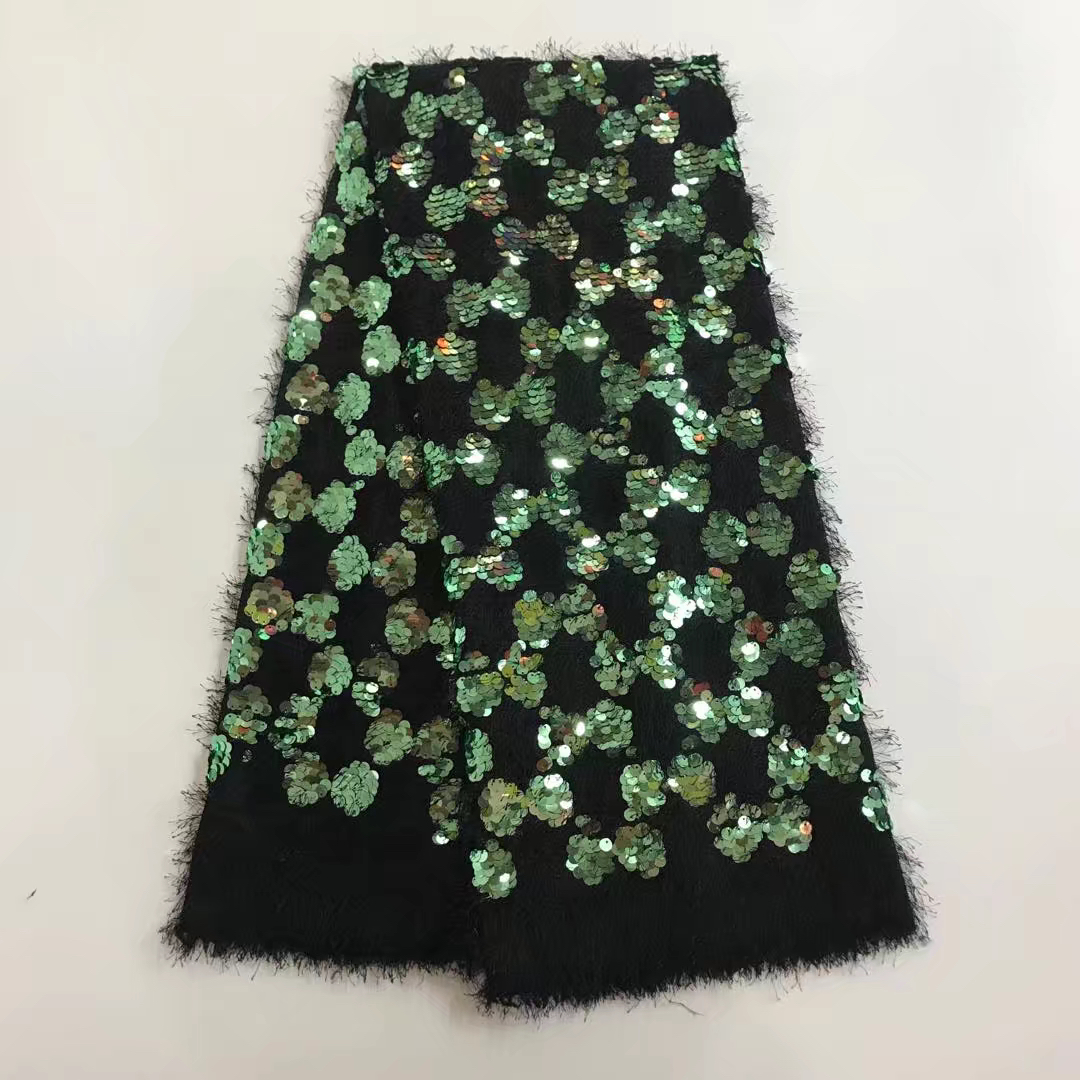 2018 Hot sale African party dress lace fabric french bridal lace furry button with bling sequins for Nigerian lady dress lace