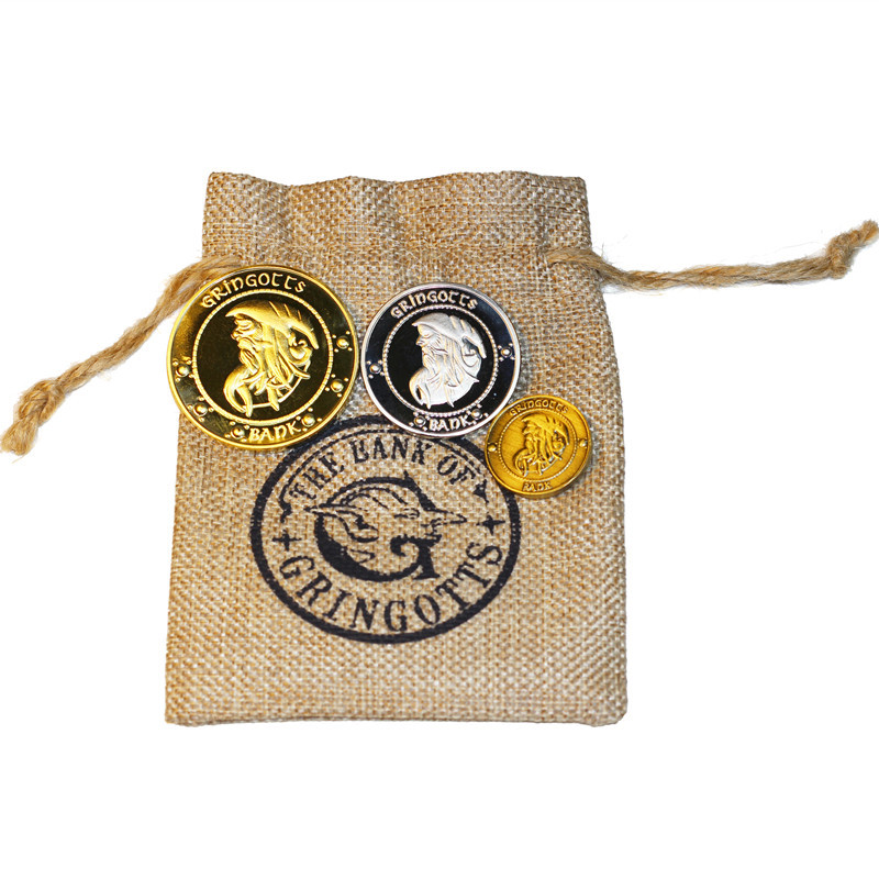 3 Coins 1 Bag Potters Gringotts Bank Wizard Ron Hedwig Hermione Harried Magic Stage Birthday Gifts Party Collection