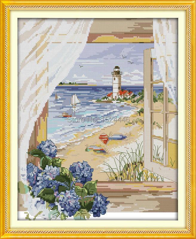 البحر الرؤية خارج نافذة الشاطئ الزهور عد طباعة على قماش DMC 14CT 11CT عبر غرزة التطريز مجموعات التطريز مجموعات DIY