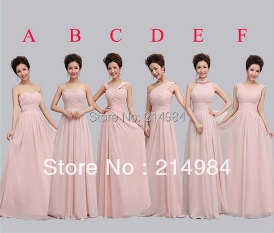 Hot Sale Nude Pink Long Chiffon Bridesmaid Dress 2015 Free -4945