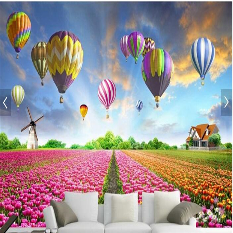 Beibehang Custom Photo Scenery Pastoral Hot Air Balloon