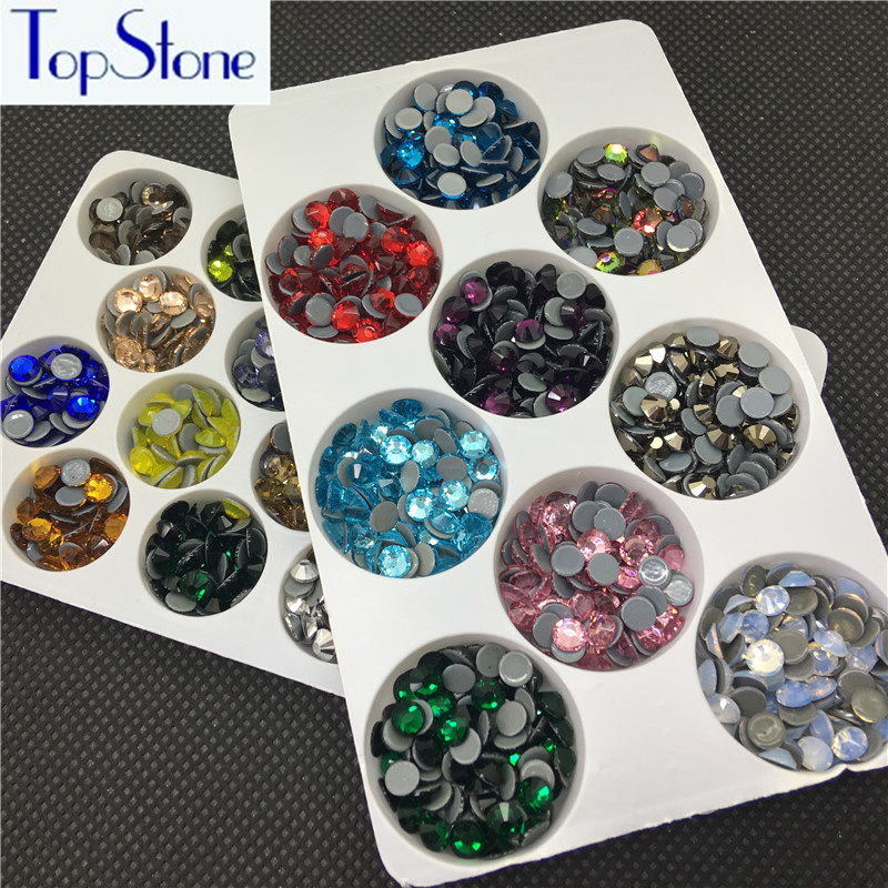 TopStone Υψηλής ποιότητας MC Hotfix Rhinestones SS6 SS8 SS10 SS16 SS20 SS30 επίπεδη γυαλί κρύσταλλο συγκολλητικό σίδερο σε πέτρες